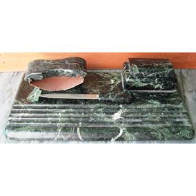 Tintero Escribania Antiguo Marmol Verde Secante Y Abrecartas