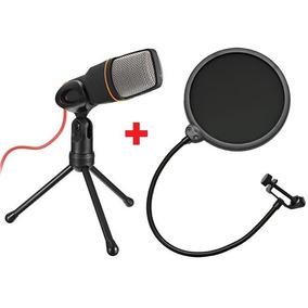 Microfone Condensador Sf-666 + Pop Filter Cabo Tripe Studio