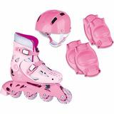 Patins Roller In-line 4 Rodas 34 A 37 C/ Kit Proteção Rosa