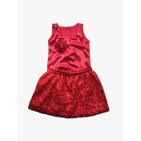 Vestido Infantil Vermelho Festa Com Saia Trabalhada Strass