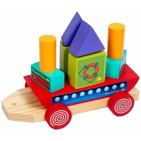 Barco Geometrico De Madeira 18 Brinquedo Pedagogico