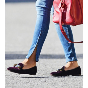 Zapato Flat Marca Isola Terciopelo Negro Con Moño Gucci