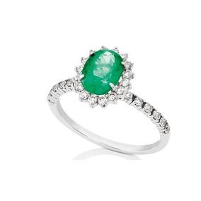 Anel Ouro Branco 18k Com Esmeralda E Diamantes Mod. Cj1006 9a0fbae42e