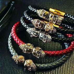 Skull Bracelet Piel Oro Laminado 18k
