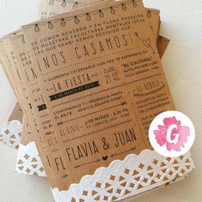 Invitaciones Tarjetas Casamiento Papel Madera Kraft Blonda