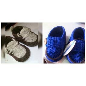 Zapatos Para Bebe Tejido A Crochet Para Varon.