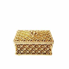 72 Mini Porta Joia Caixinha Dourada Retangular Lembrancinha