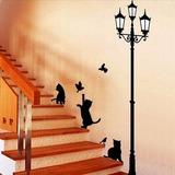 Sticker Vinil Decorativo De Pared Gatos Con Farol Escalera