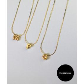 Collar Inicial Chapa De Oro 10k