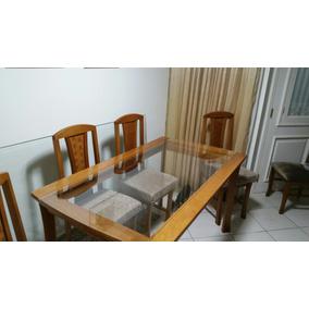 Mesa Jantar Madeira Maciça 6 Cadeiras Em Suede