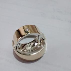 5d0d017ffa4 Promoçao Par De Aliancas Ouro 18k  Prata 8mm Anatomicas Shai