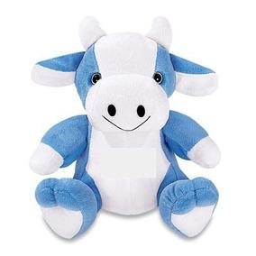 Vaca De Pelucia Azul Sentada 30 Cm Lavável Antialérgica Nova