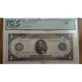 5 Dolar Ano 1914 Certificada Pmg