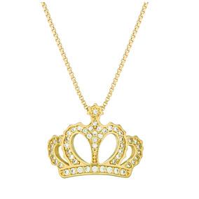 Correntinha Coroa Folheada Ouro 18k (gar36)