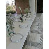 Mesa Blanca Con 10 Sillas De Madera Vintage Shabby Greenery