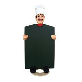 Placa Lousa Giz Chef Cozinha Restaurante, Cozinheiro 94cm