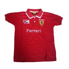 0711ace365 Camisas Ferrari Infantil Piquet Camiseta Vermelha Azul Branc · 3 cores