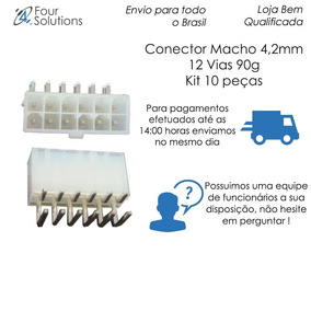Conector Macho 4,2mm 12 Vias 90g -kit 10pçs