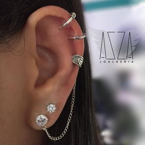 Piercing Fake Brinco Ear Hook Coração Pressão Em Prata 925