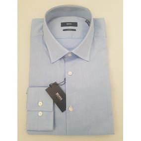Camisa De Vestir Hugo Boss Black Azul Corte Slim Fit ¡¡