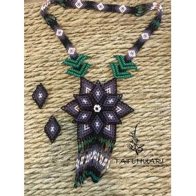 Collar De Chaquira Huichol Artesanía Huichol, Morado