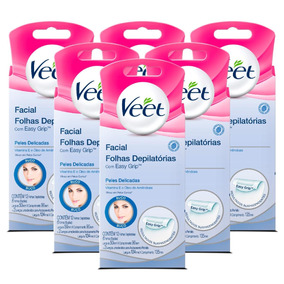 Kit Veet Cera Fria Facial Peles Delicadas - 6 Unidades