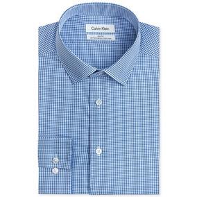 Camisa Calvin Klein Slim Fit L Azul Cuadros Cleotildescloset