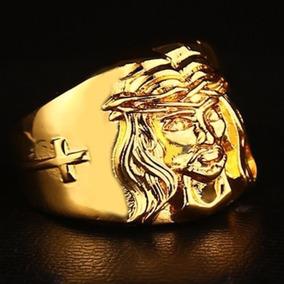 Anel Jesus Cristo São Bento Cruz Hip Hop Ouro Lxbr A112