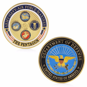 Moeda Banho Ouro Bandeira Pentágono Defesa Fuzileiros