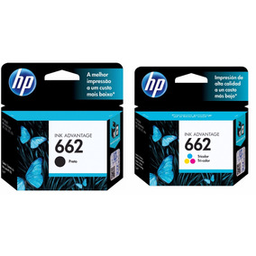 Kit Cartucho Hp 662 Preto + 662 Tricolor Originais