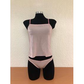 Conjunto De Crop Top Y Bottom Corte Bikini De Licra