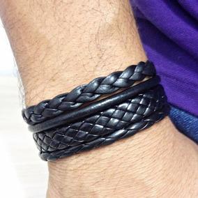 Bracelete Masculino Pulseira Masculina Couro Fecho Magnetico