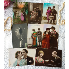 8 Cartões Postais Antigos França E Alemanha Românticos