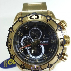 Relógio Atlantis Dourado Masculino+brinde!