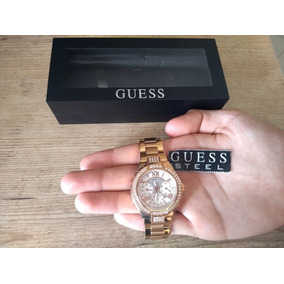 ad109ad734d Relógio Gold Tone Black Leather Ladies Guess Watch U12564l2 ...