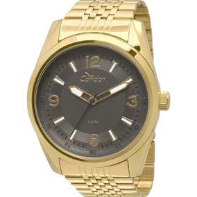 Relógio Condor Masculino Metal Co2035kqb/4c Dourado E Marrom