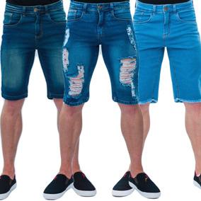 Kit 4 Bermudas Jeans Masculina Lycra Luxo Premium Qualidade