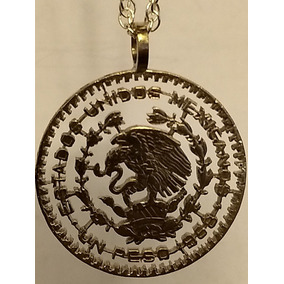Dije Moneda Calada De Un Peso Morelos Con Cadena Plata .925