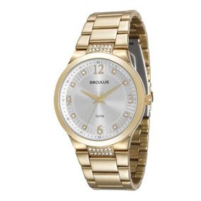 Relógio Seculus Feminino Dourado 23568lpsvds1 Original