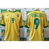 Camisa Oficial Futebol Brasil   9 Ronaldo Copa Do Mundo 1998 ba5f34101a432