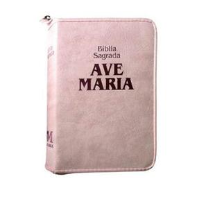 Livro Bíblia Sagrada Da Ave Maria (capa Rosa Com Zíper)