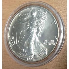 Moneda 1991 Usa Silver Eagle 1 Onza Plata 999 En Capsula