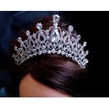 Coroa Tiara Noiva Debutante Prata Strass Porta Coque T2
