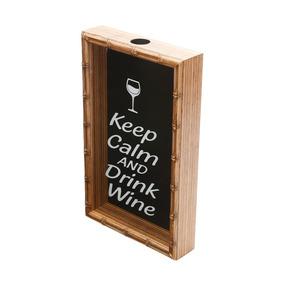Quadro Porta Rolha De Vinho Bambu Keep Calm And Drink Wine 4