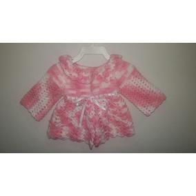 Casaquinho De Lã De Crochê Pra Bebê Rosa Pronta Entrega a8b75becb46