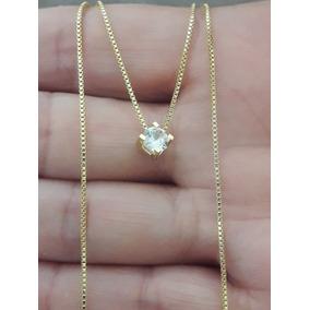 19d339c6cac33 Colar De Ouro 18k + Ponto De Luz De Diamante 10 Pontos - Joias e ...
