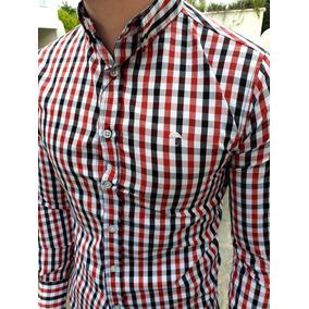 Camisa Slim Fit Cuadros Rojo Y Negra Moon & Rain - Hombre