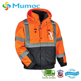 Chamarra Trabajo Industrial Seguridad Impermeable Naranja