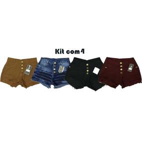 Short Jeans Feminino Cintura Alta Colorido Hot Pants Kit C 4
