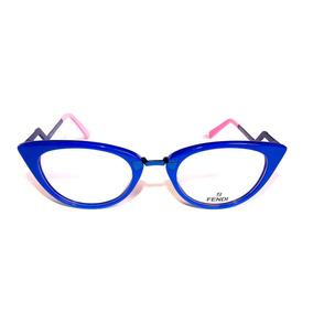a8ef9520013aa Armacao De Oculos Grau Estilo Gatinho Azul Fendi - Óculos Armações ...